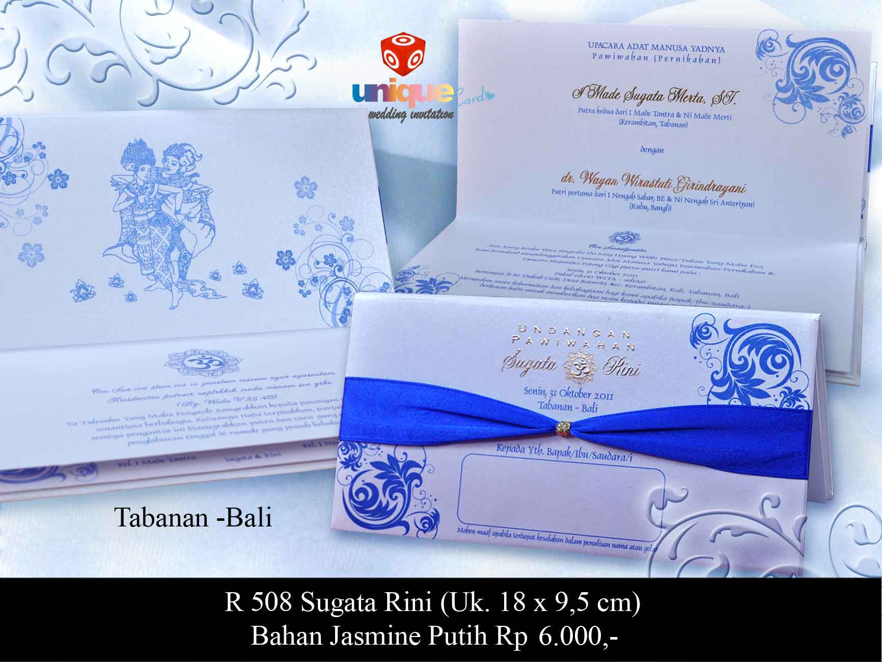 Undangan Pernikahan Sugata Rini Unique Card Wedding