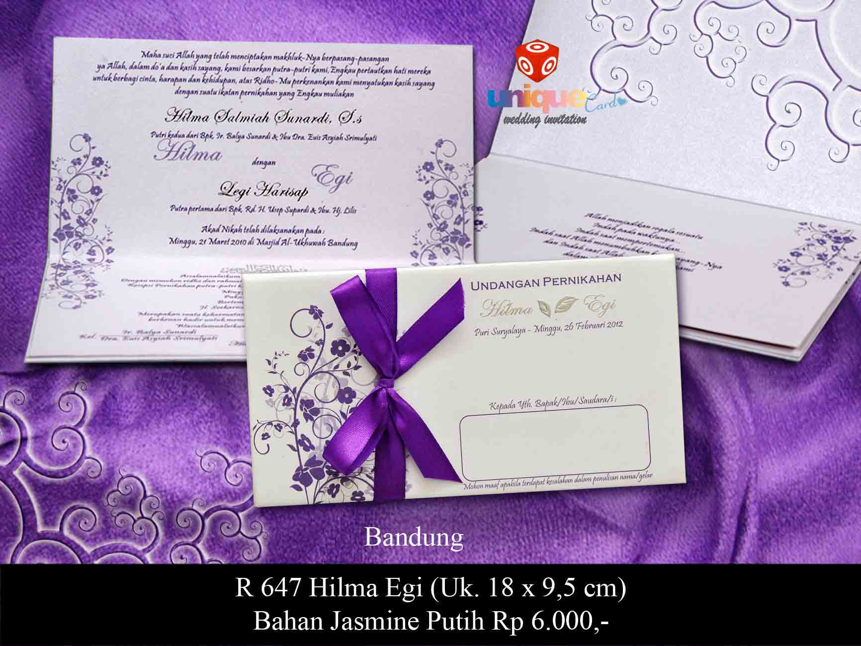 Undangan Pernikahan Hilma Egi Unique Card Wedding