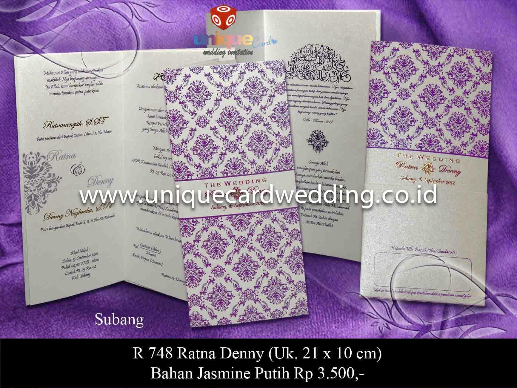 Undangan Pernikahan Ratna Denny Unique Card Wedding Invitation  Jakarta A 02